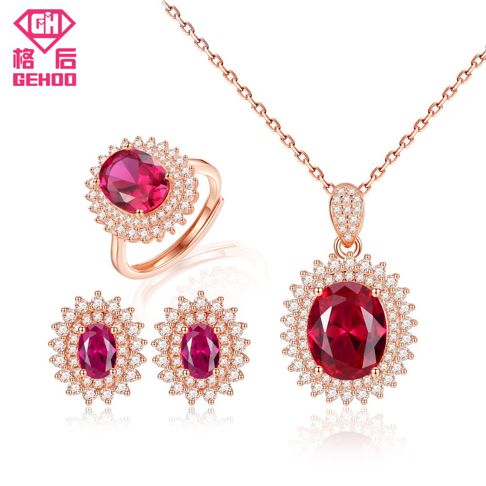 GEHOO Pretty Ruby Gemstone Fine Jewelry Set 925 Sterling Silver Zircon Women Ring Earrings Pendant Necklace for Wedding Bridal a suit of chic faux ruby zircon geometric necklace and earrings for women