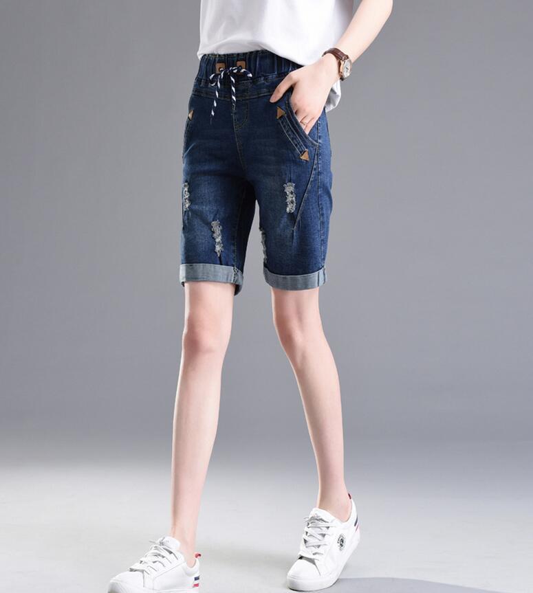 4dd7c59cd82a Большие размеры женские шорты новинка 2017 Лето эластичный пояс ...