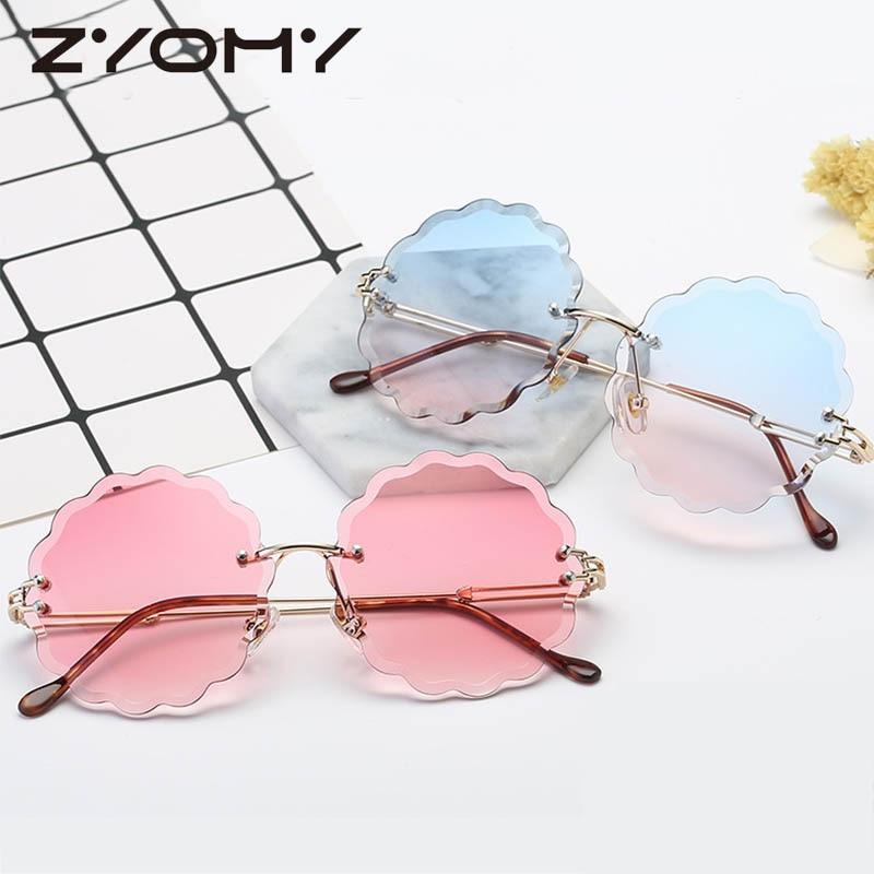 Zyomy dégradé de couleur lentilles Gafa rétro lunettes forme marque Designer sans monture femmes lunettes de soleil Oculos de sol Lunette lunettes ombre