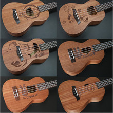 21 inch Hawaiian Ukulele soprano uke 4 strings Guitar 6 Kinds of Cartoon Patterns Kids Gift Sapele Ukulele Rosewood Fingerboard