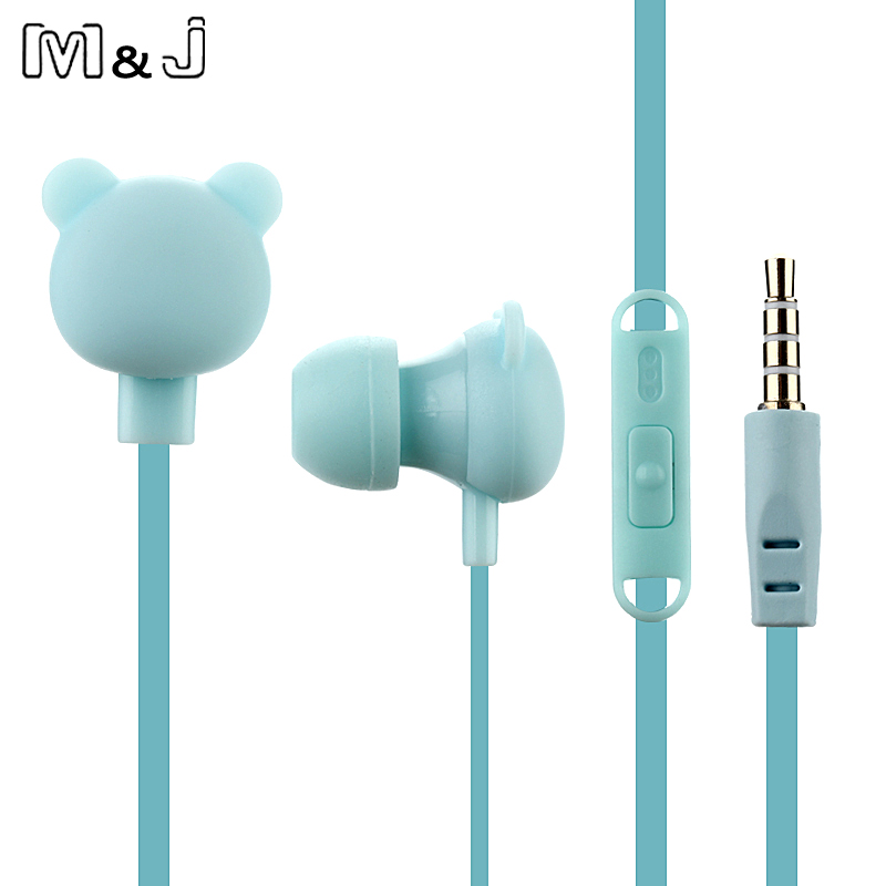 M & J Cartoon Cute Øretelefon 3,5 mm I Øre Kablet Headset Med Mic Remote Bear Earpod Til iPhone Samsung Huawei Xiaomi Fødselsdag Gave