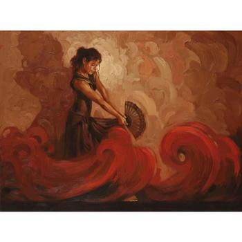Best oil portaits Crimson Heat Female artwork on canvas Hand painted woman painting for room decor