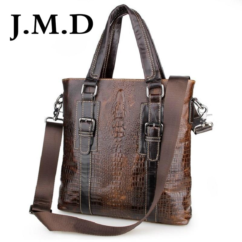 J.M.D 2017 New Arrival 100% Leather Crocodile Grain Briefcases Men's Cow Leather Messenger Shoulder Bag Handbags 7265