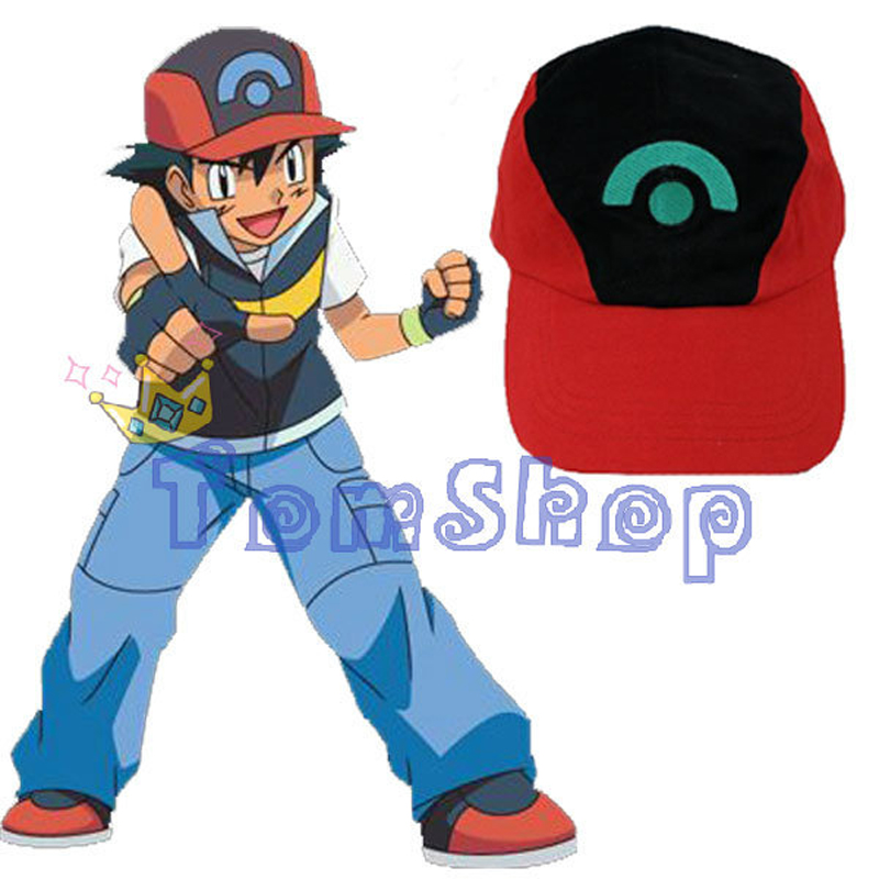 Anime POKEMON Ash Ketchum Adjustable Visor Hat Baseball Cap Halloween Cosplay Costume props Color Red & Black with Green Logo