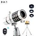 2017 teléfono lentes kit 12x lente zoom telefoto para iphone6 7 samsung con clips de trípode telescopio de lentes de ojo de pez gran angular macro