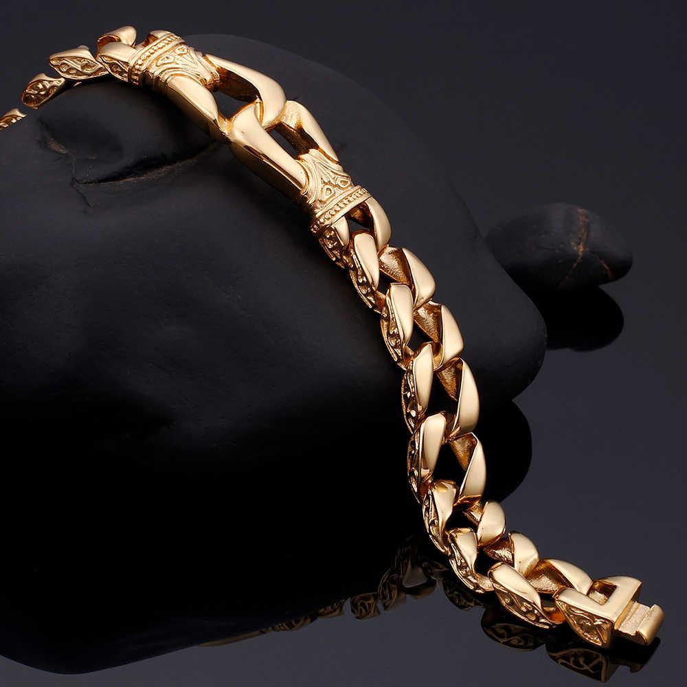 316l polido aço inoxidável homem pulseira masculino qualidade masculino pulseiras bangles curb cubana link jóias quatro cores mão corrente
