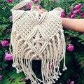 Fashion White Handmade Cotton Rope Hollow Out Woven Tassel Bag Trend Women's Handbag Straw Shoulder Bag For Ladies 641864