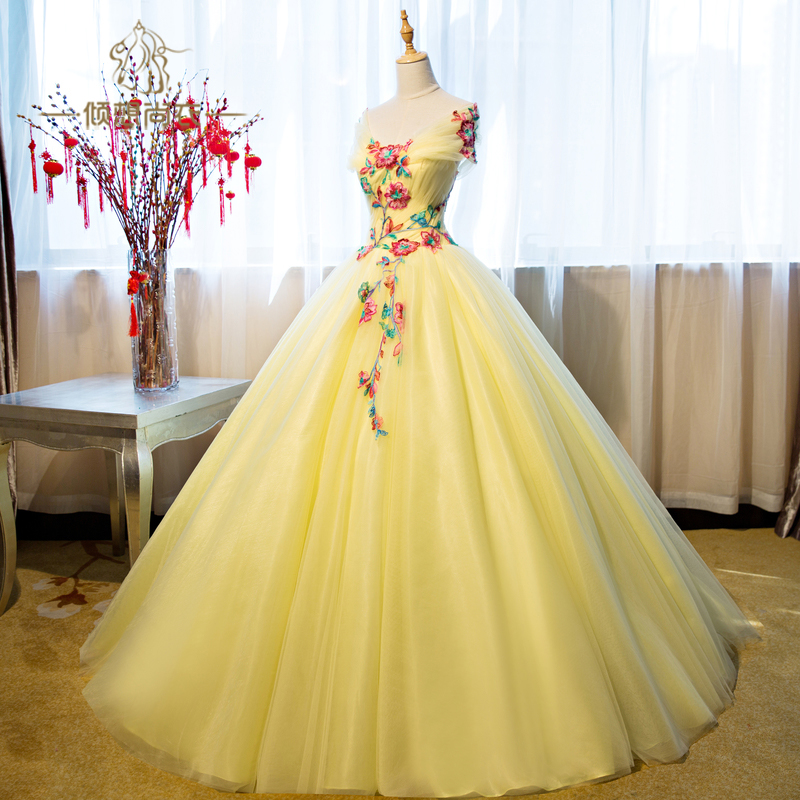 100real Light Yellow Flower Embroidery Elegant Shawl Collar Ball Gown Royal Medieval
