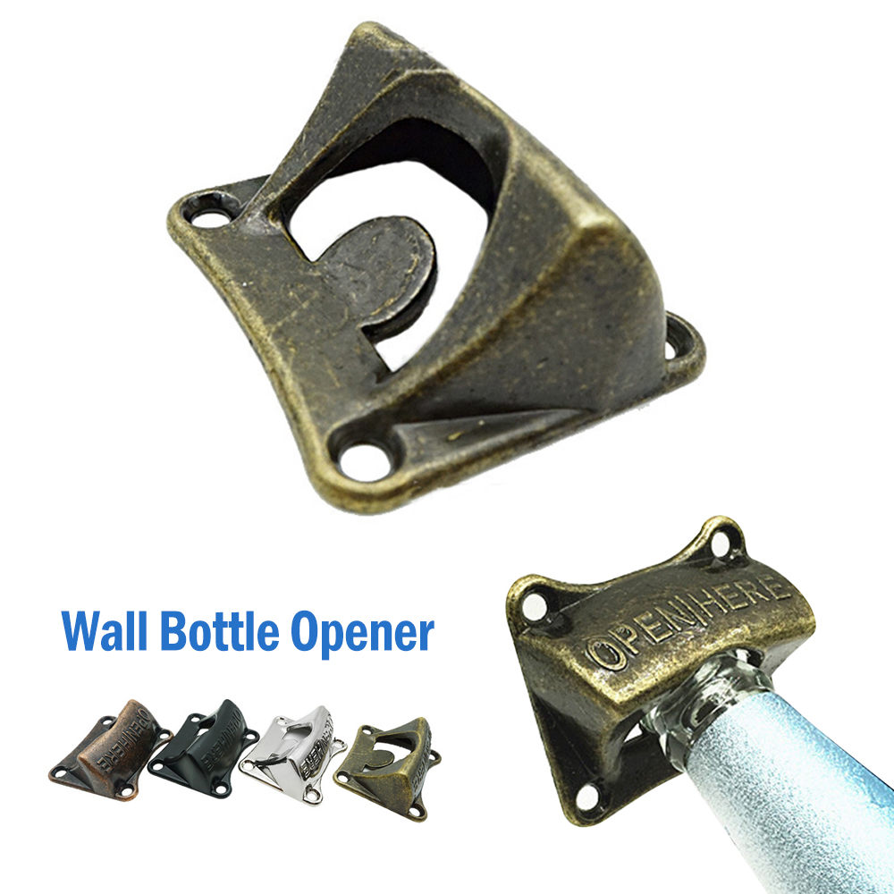 Wall Beer Openers Pure Copper Bronze Metal Wall Mounted Beer Wine Bottle Cap Bar Opener Bar Kitchen Tools