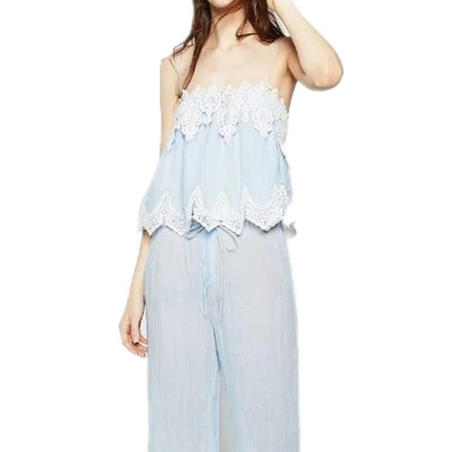 Novo Verão Europeu Lace Costura Halter Top Fashion Sexy Colheita Rendas Top Curto Camisa