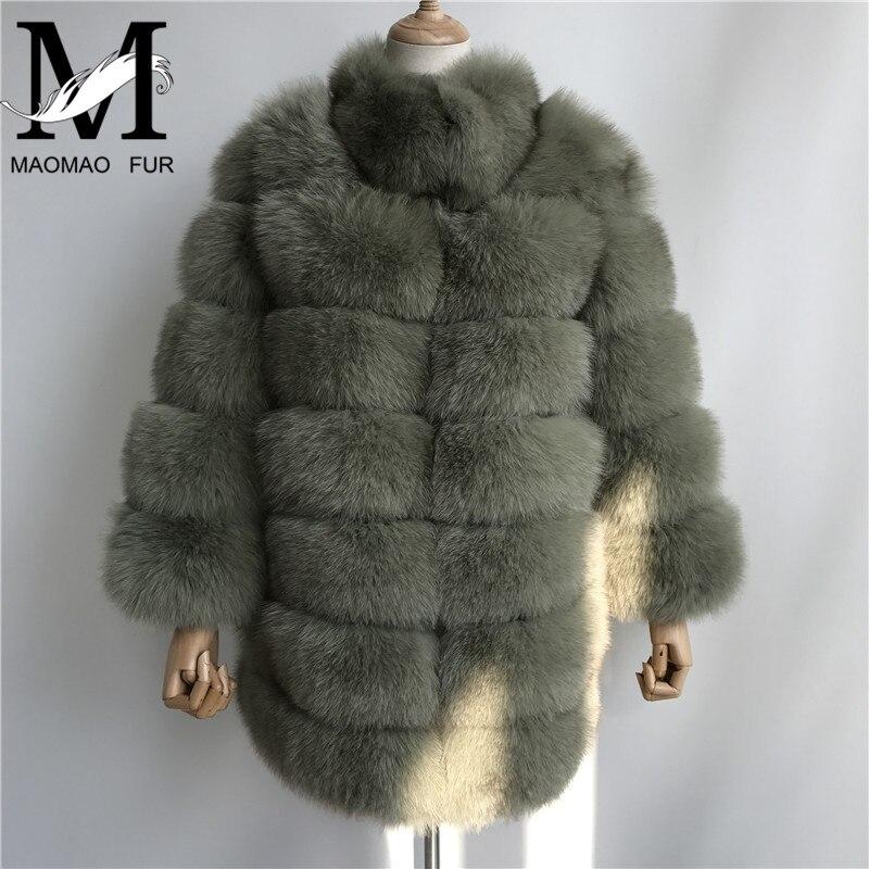 New Real Fox Cappotti di Pelliccia Genuino Delle Donne Pelliccia di Volpe Femminile di Spessore Lungo di Modo del Rivestimento Delle Signore di Inverno Vero Cappotto di Pelliccia di Lusso