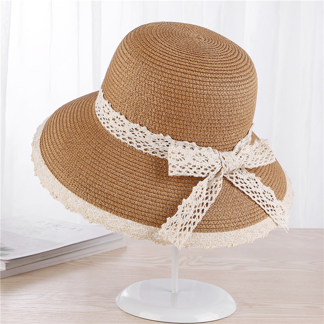 XIANXIANQING 2018 Women s Outdoor Straw Hat Lady s Striped Lace Hats  Women s Sweet Spring Cap Lady s Summer Bow-Knot Caps 8633 4da57df6bf1
