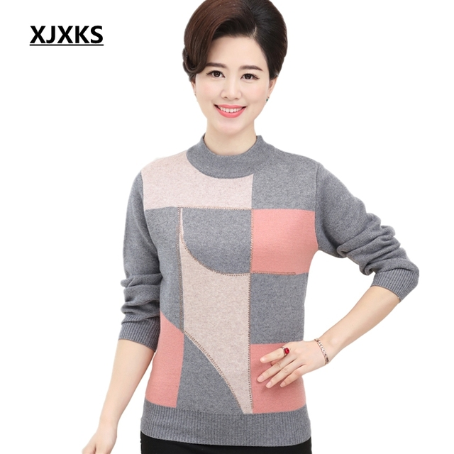 683891ecb5 US $22.5 16% OFF|XJXKS New Middle Aged Women's Fall And Winter Clothes  Bottoming Shirt Round Neck Cashmere Sweater Knitted Sweaters Plus Size-in  ...