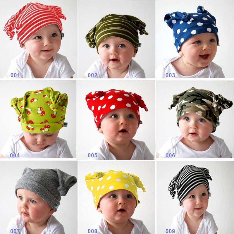 2017 New Arrival Baby Skullies 0-24months Baby Beanies Boy Girl Ears Hat Cute Baby Cap Wholesale Baby Hats DS29