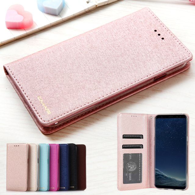 size 40 88025 57f34 US $4.22 5% OFF Luxury Leather Flip Case Cover For Samsung Galaxy S8 s8  plus TPU Silicone Clear Wallet Cover Samsung Galaxy S8 Case Phone Coque-in  ...