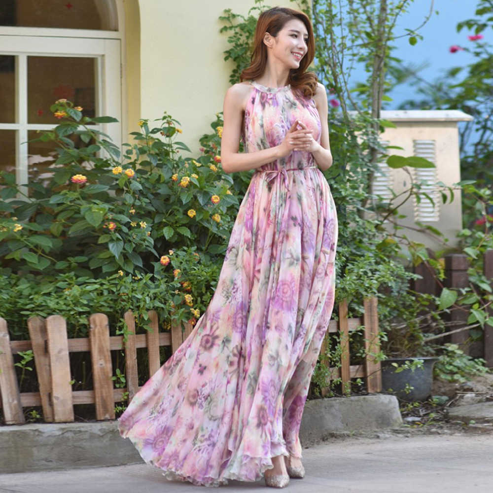 2018 New Pink Floral Long Chiffon Maxi Dress Gown Plus Sizes celebrity  graduation Dinner f3b648317dc5