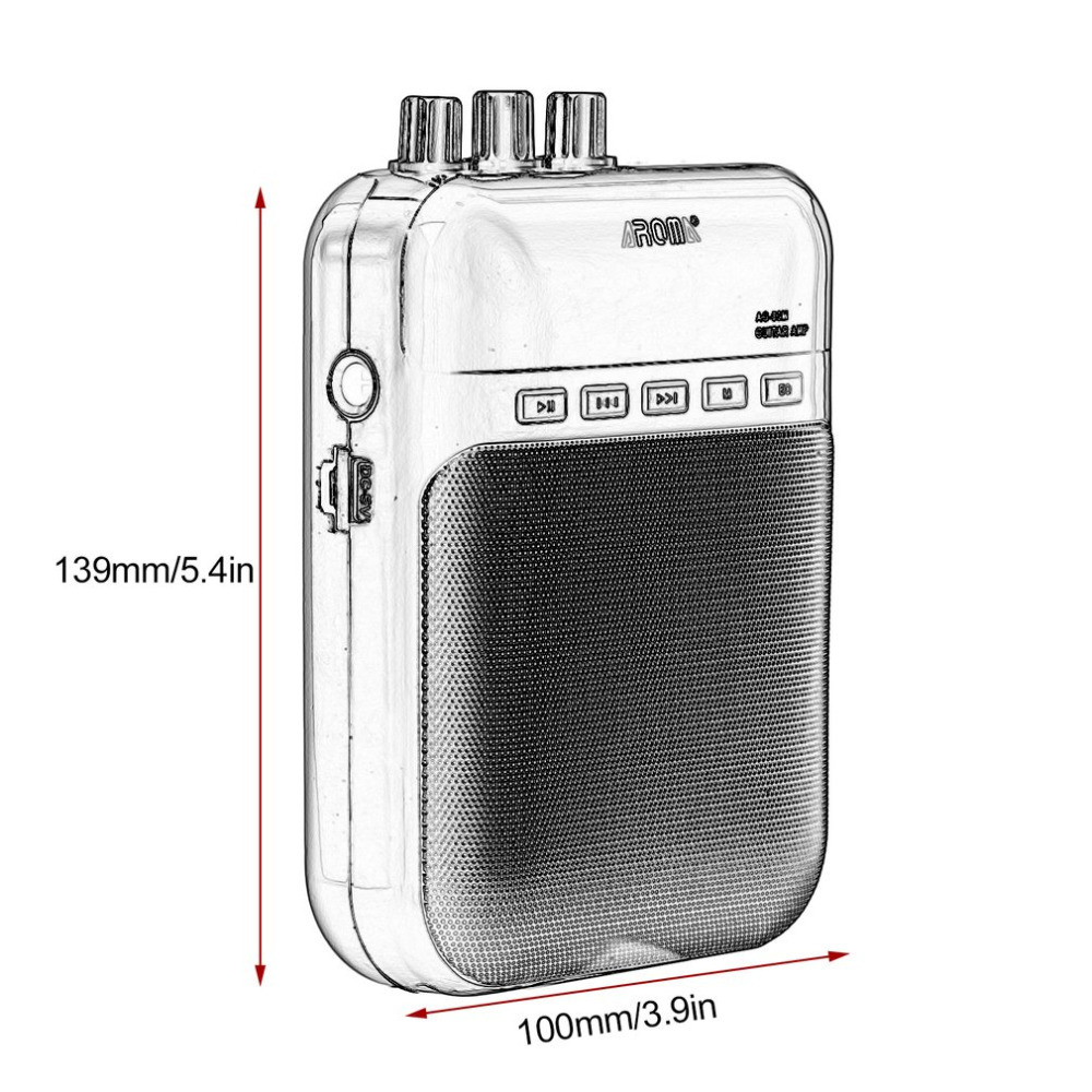 Купить с кэшбэком AROMA AG - 03M Portable Charging 3W Mini Guitar Amplifier 25Hz~20KHz Metal Guitar Amplifier with USB Cable
