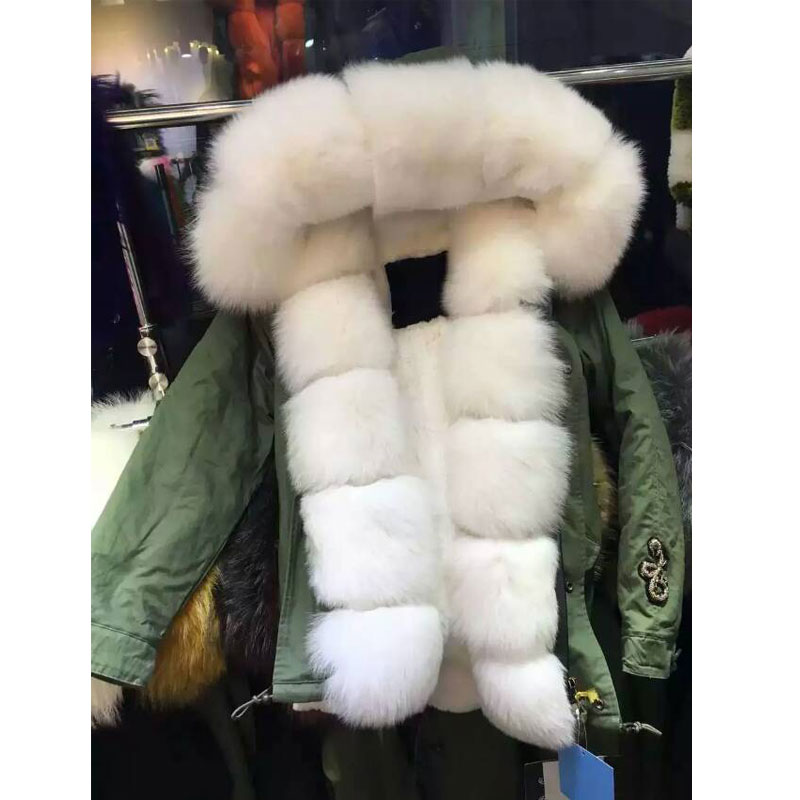 New Arrival design short style Snake beading fox fur hood with Faux fur winter coat