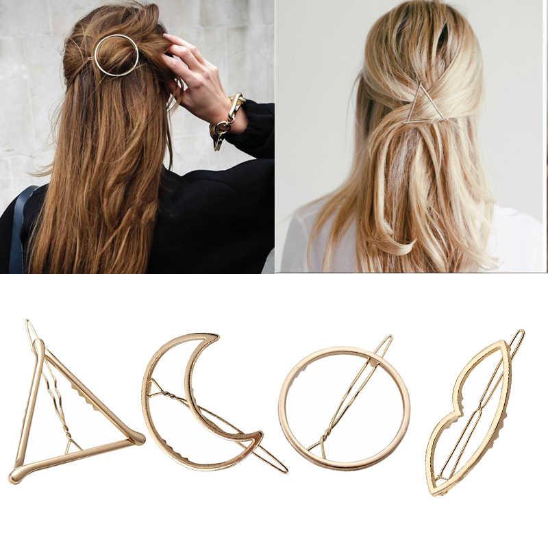 6cd43e34f Модные женские аксессуары для волос треугольный зажим для волос булавки  Металл геометрический сплав Hairband Moon круг