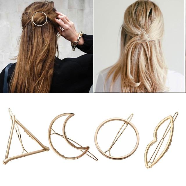 Moda Mulher Cabelo Acessórios Grampo de Cabelo Pin Liga de Metal Geométrica Triângulo Hairband Círculo Lua Grampo de Cabelo Barrette Meninas Titular