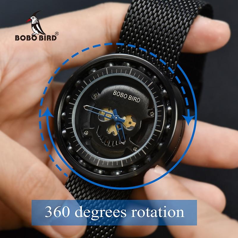 BOBO BIRD Steel Watch Timepieces Skull Dial 360 Degree Rotación - Relojes para hombres - foto 4