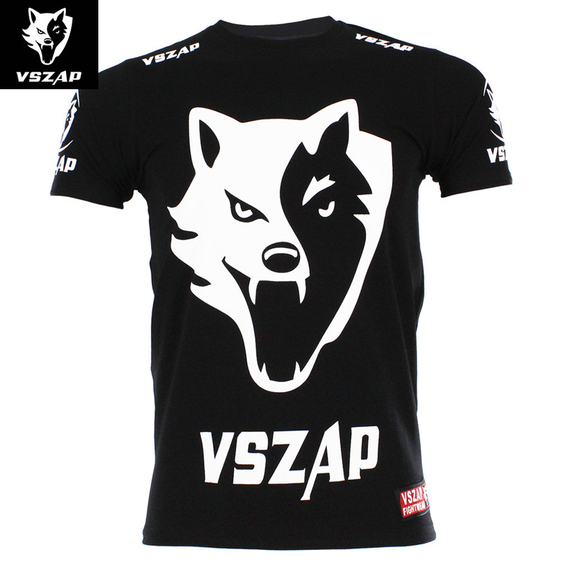 VSZAP Mens Short Sleeve Jerseys for Fighting Kick Boxing Karate MMA Wolf Head Retro Top Tees Sports Jersey 2018 Summer F ...