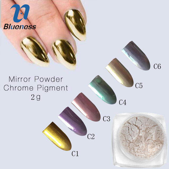 2g/Box 6 Colors Nail Art Mirror Powder DIY Chrome Glitters Powder ...
