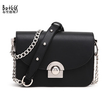 BRIGGS Women Shoulder Messenger Bags PU Leather Handbag Female Fashion Crossbody Bag Ladies Solid Small Flap Bags+Bag Strap