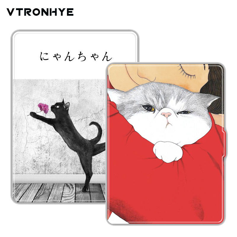 Case for Amazon Kindle Paperwhite 1/2/3 Cover Lovely Flower&Cat Design Skin Auto Wake Up/Sleep 6 Inch Case with Screen Protector стоимость