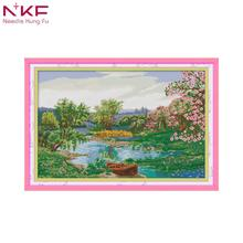 NKF 2018 New Arrival The spring of the creek pattern DMC 14CT11CT chinese Cross Stitch Needlework Sets Embroidery kit Home decor