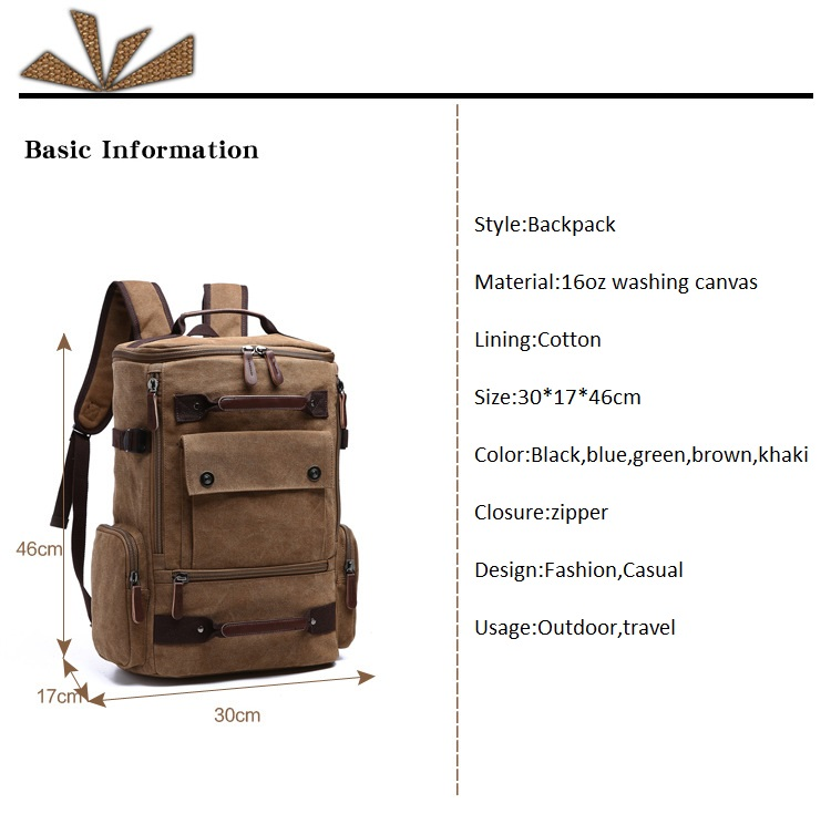 Men Laptop Backpack 15 Inch Rucksack Canvas School Bag Travel Backpacks for Teenage Male Notebook Bagpack Computer Knapsack Bags 3