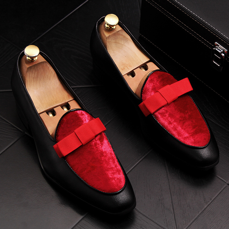2019 Men Brand Dress Loafers Shoes Bow Tie Slippers Gentlemen Wedding Flats Casual Slip on Black+Red Suede Flats Shoes 1