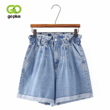 GOPLUS 2019 Summer High Waist Denim Shorts Women Casual Loose Ladies Fashion Roll Up Hem Elastic Pocket Blue Jeans