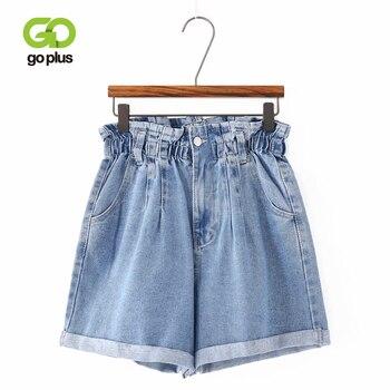 GOPLUS 2020 Summer High Waist Denim Shorts Women Casual Loose Ladies Fashion Roll Up Hem Elastic Waist Pocket Blue Jeans Shorts roll up hem denim shorts with belt