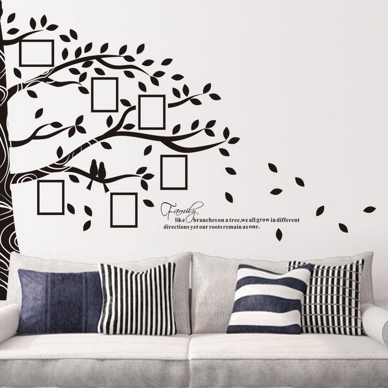 Hermosa Etiquetas De La Pared Del árbol Con Marcos De Cuadros Viñeta ...