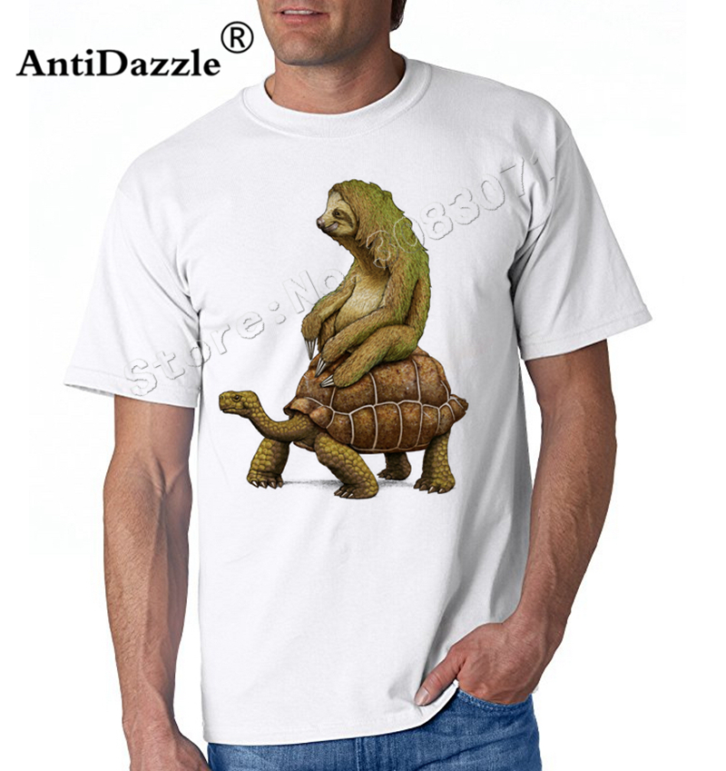 Antidazzle 2017 Fashion Cute Funny Sloths ride like a turtle  Speed is Relative Male Short Sleeve T shirt Casual Male Tees Tops