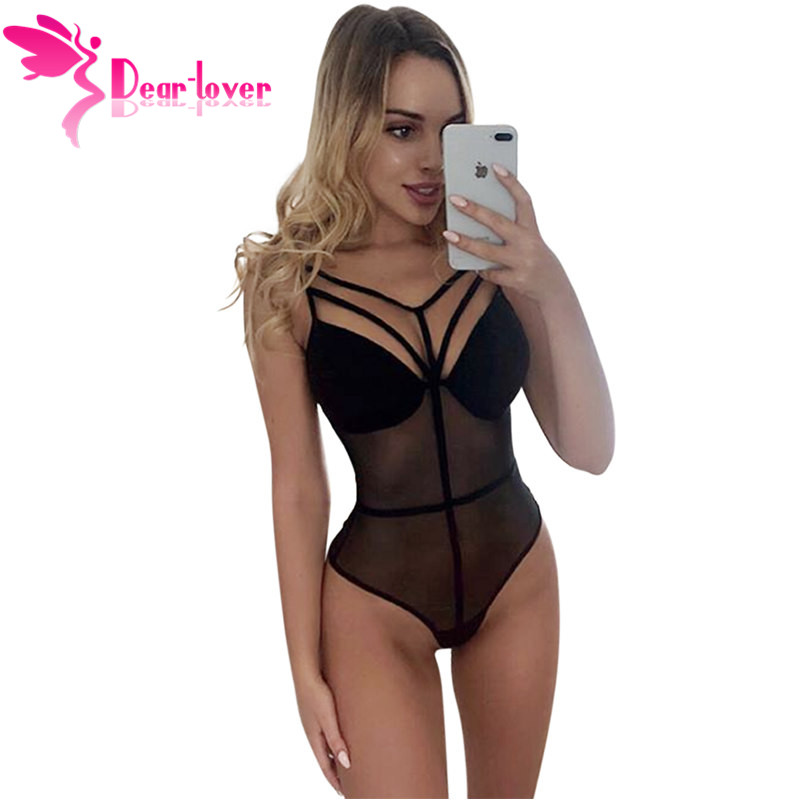 Dear Lover Sexy Bodysuit Women Bandage Mesh Bodysuits Fashion Black   Jumpsuit   Overalls Sleepwear LC32383