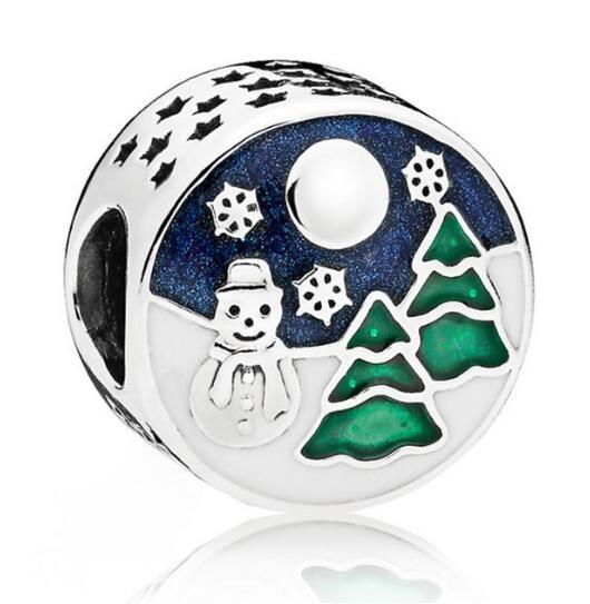 925 Sterling Silver European Blue Enamel Snowman & Snowflake Charms Beads Fit Pandora Bracelet & Necklace Diy Christmas Jewelry