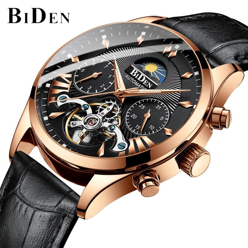 BIDEN Homens Relógios Top Marca De Luxo Mens Tourbillon Relógio Mecânico Automático de Negócios de Moda Esqueleto relógio de Pulso À Prova D' Água