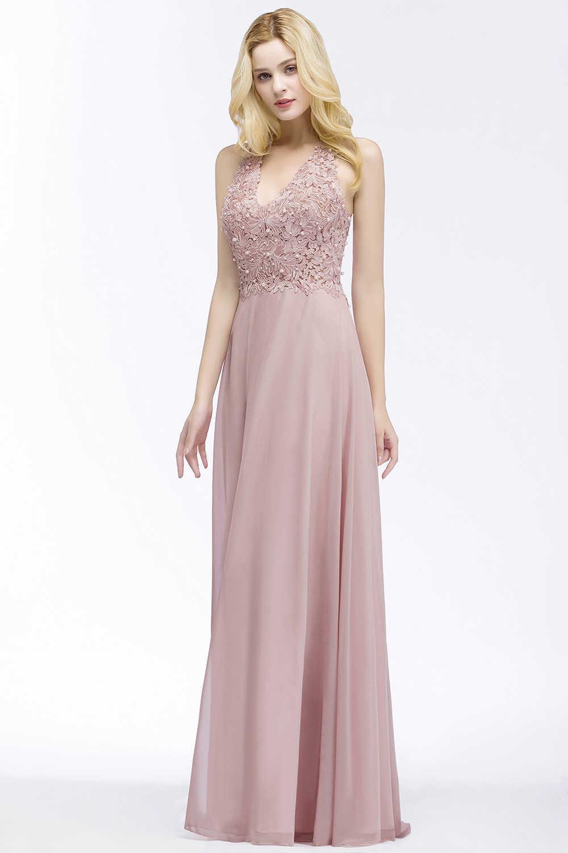6c02fe2b1e7 ... Вечернее платье longue вечернее платье 2019 пыльная роза линии платье  для выпускного вечера шифон с жемчугом ...