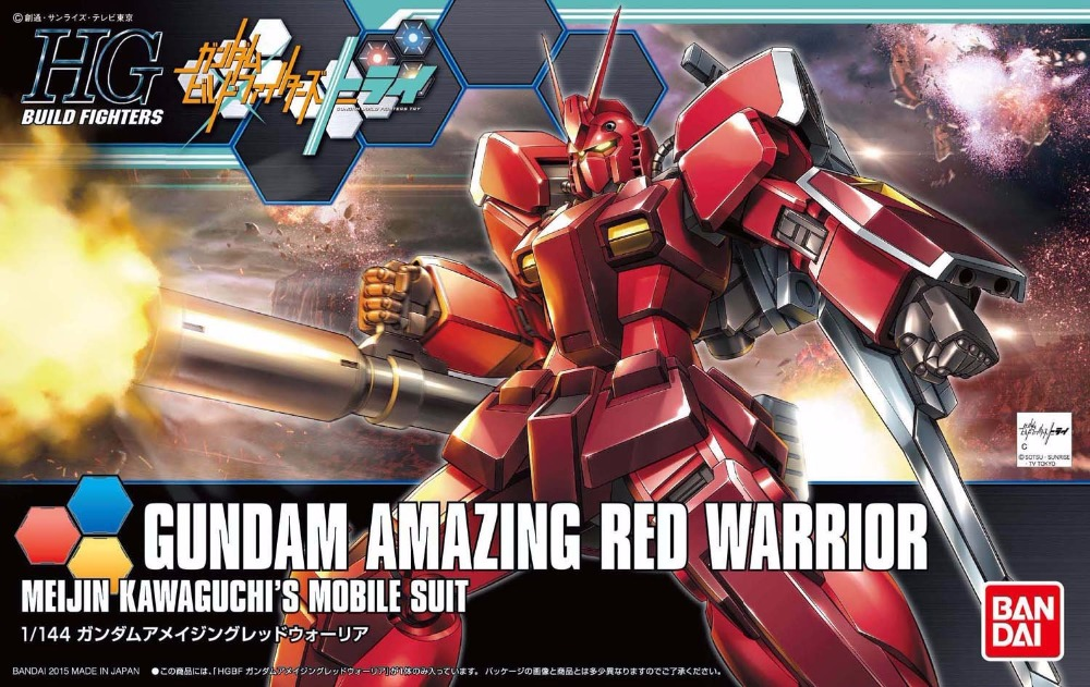 1 PCS Bandai HG Build Fighters HGBF 026 1/144 Gundam Amazing Red Warrior Mobile Suit Assembly Model Kits HOT KIDS TOYS Robot