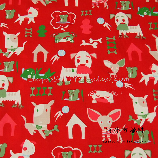 140X100cm Red Background Lovely Beige and Green Dogs Cotton Fabric for Girl Clothes Bedding Set Sewing Patchwork DIY-AFCK411