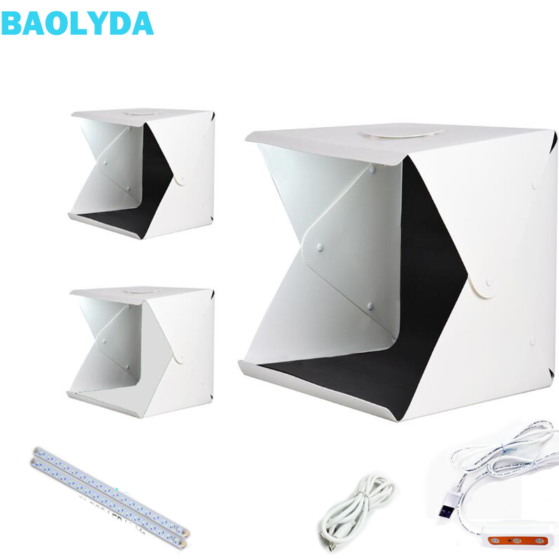 Baolyda Portable LED Studio Photo Box 24/30/40cm Photo Studio Accessories with Black/White Backgrounds for Photo Studio Softbox-in Photo Studio Accessories from Consumer Electronics
