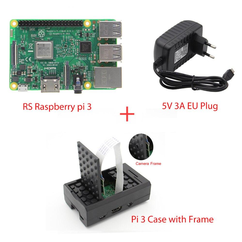 Raspberry pi 3 modèle b carte mère + 5 v 3A UE Plug Power Adaptateur + Pi 3 ABS Cas avec Caméra Cadre Kit Raspberry pi Kit de Démarrage