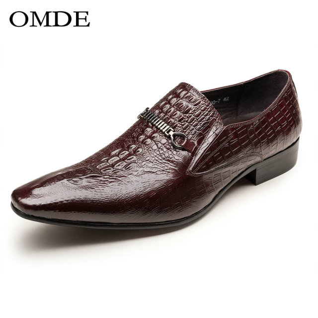 Men's Leather Loafers Pointed Toe Buckle Wedding Dress Shoes Slip-on Wine Red (US 9.5)