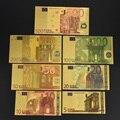 7 pçs euro notas da folha de ouro notas comemorativas decoração 5 10 20 50 100 200 500 eur banhado a ouro coleção eur