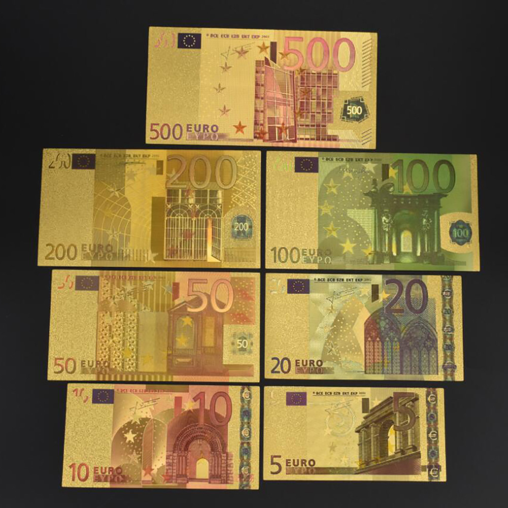 7PCS Euro Gold Foil Banknotes Commemorative Notes Decoration 5 10 20 50 100 200 500 EUR Gold Plated EUR Collection in Gold Banknotes from Home Garden