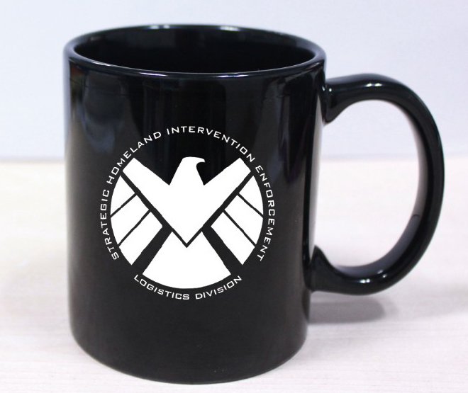 New Black Agents of s.h.i.e.l.d White Ceramic Coffee Tea Cup Mug Shield Logo