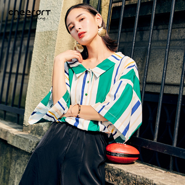 c8140fb1d2a5 Cheerart Green Striped Blouse Women Button Up Shirt Casual Loose Long  Korean Summer Tops And Blouses 2017