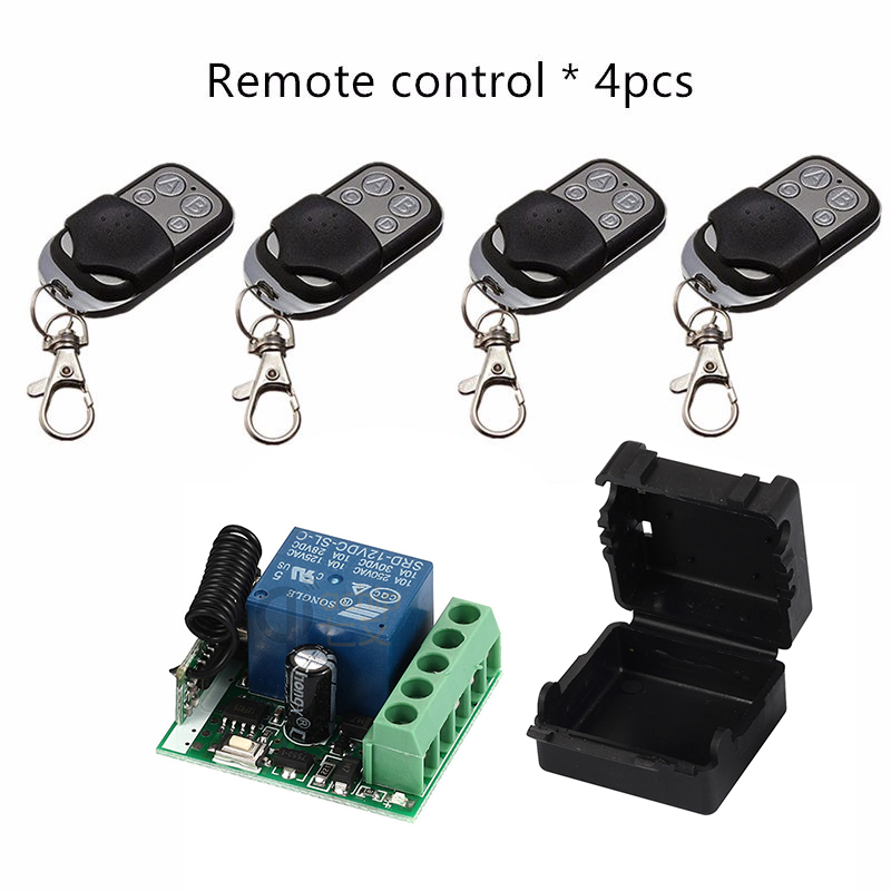 433Mhz Universal Wireless Remote Control Switch DC12V 10A 1CH relay Receiver Module and 4pcs Transmitter 433 Mhz Remote Controls dc24v remote control switch system1receiver